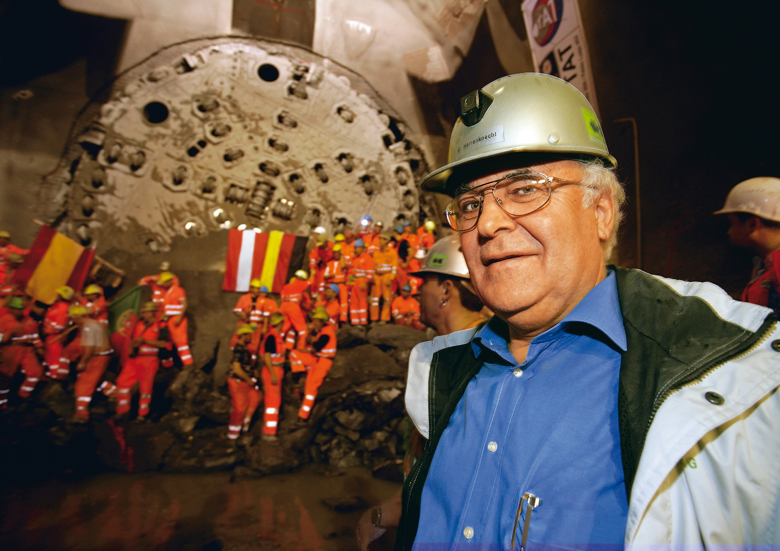 Dr.-Ing. E. h. Martin Herrenknecht at a breakthrough celebration at Gotthard Base Tunnel, Gripper TBM, Ø 8,830 mm, October 26, 2006