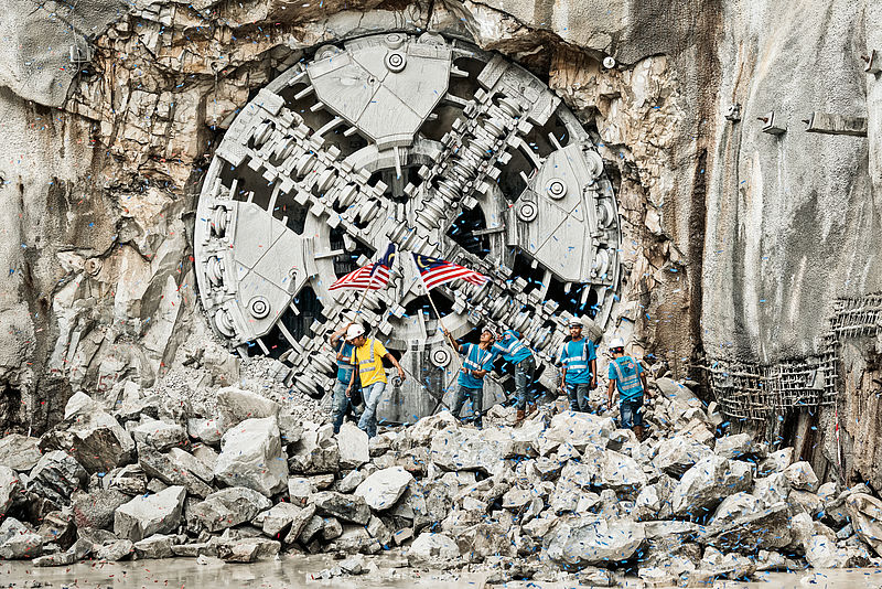 First ever breakthrough by a Variable Density TBM, Klang Valley project in Kuala Lumpur, Ø 6,620 mm