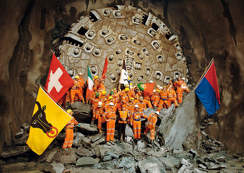 Final breakthrough at the Gotthard Base Tunnel on 15 Oct. 2010, Switzerland, Gripper TBM, Ø 9,430mm